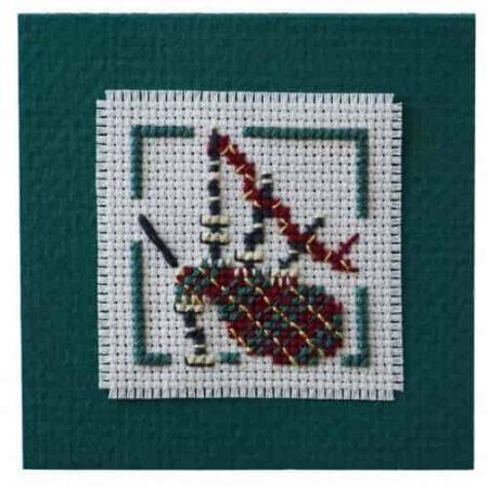 Textile Heritage Cross Stitch Kit - Gift Card Keepsake - Bagpipes