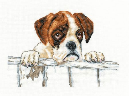 Heritage Crafts Cross Stitch Kit - Bailey, Boxer, Dog