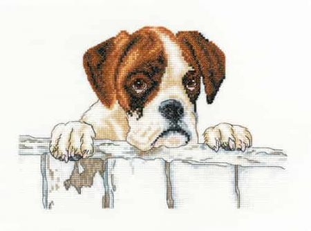 Heritage Crafts Cross Stitch Kit - Bailey, Boxer, Dog