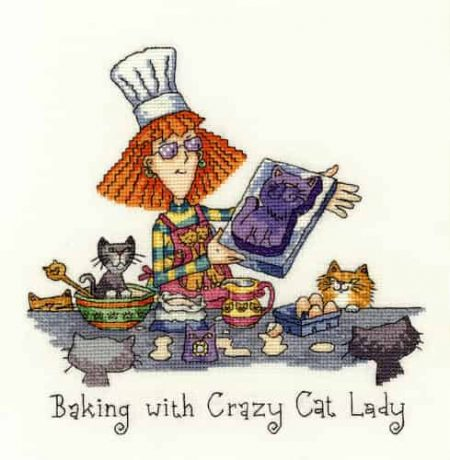 Heritage Crafts Cross Stitch Kit - Baking with Crazy Cat Lady