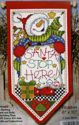 Design Works Cross Stitch Kit - Santa Stop Here Banner
