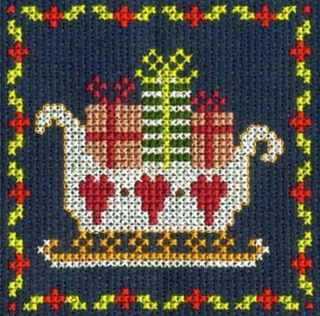 DMC Mini Cross Stitch Kit - Festive Christmas - Santa Sleigh
