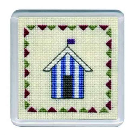 Textile Heritage Cross Stitch Kit - Coaster Beach Hut Blue Stripes