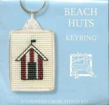 Textile Heritage Cross Stitch Kit - Keyring - Beach Huts - Made in Scotland