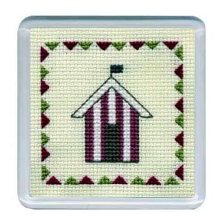 Textile Heritage Cross Stitch Kit - Coaster Beach Hut Red Stripes