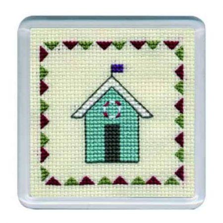 Textile Heritage Cross Stitch Kit - Coaster Beach Hut Turquoise