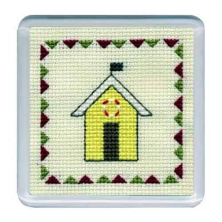 Textile Heritage Cross Stitch Kit - Coaster Beach Hut Yellow