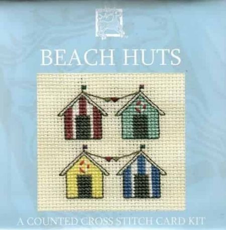 Textile Heritage Cross Stitch Kit - Card - Beach Huts - Made in Scotland