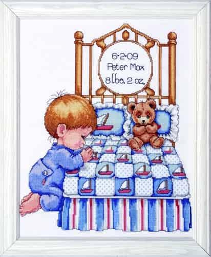 Tobin Baby Design Works Cross Stitch Kit - Bedtime Prayer Boy
