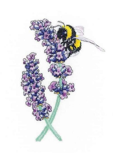 Heritage Crafts Cross Stitch Kit -  Lavender Bee