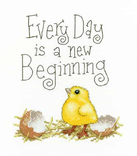 Heritage Crafts Cross Stitch Kit - A New Beginning, Chick