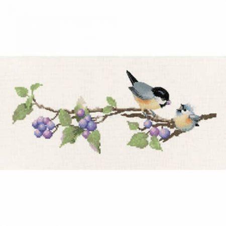 Heritage Crafts Cross Stitch Kit - Harmonies - Berry Time, Birds