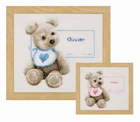 Vervaco Cross Stitch Kit - Bear with Bib - Birth Record - Boy or Girl