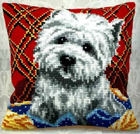 Collection D Art Cross Stitch Cushion Front Kit - Bichon, Westie, Dog
