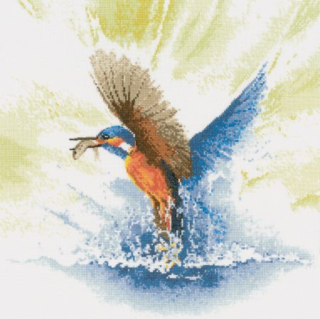 Heritage Crafts Cross Stitch Kit - Kingfisher in Flight 14 count aida