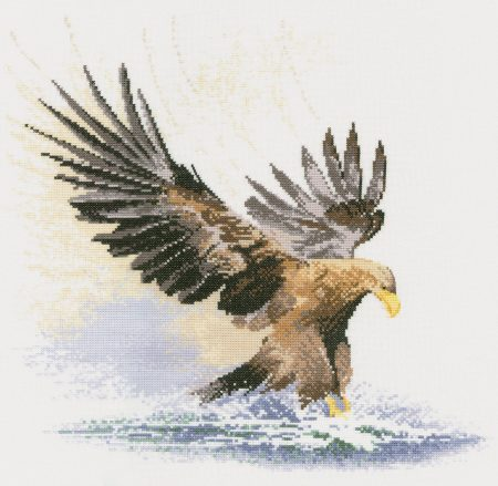 Heritage Crafts Cross Stitch Kit - Eagle in Flight 14 count aida