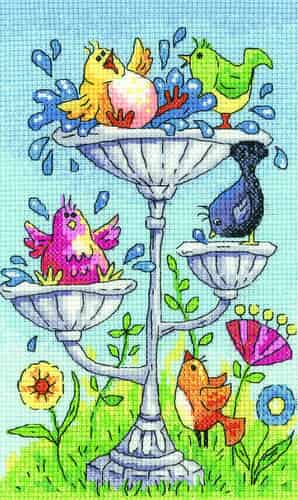 Heritage Crafts Cross Stitch Kit - Birdbath