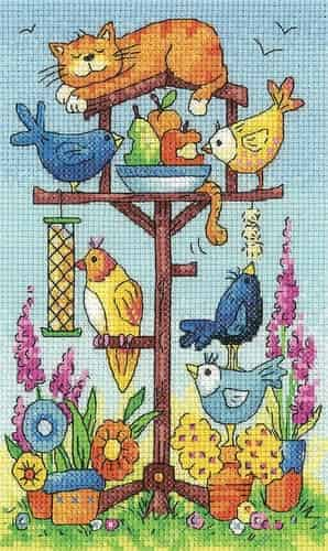 Heritage Crafts Cross Stitch Kit - Bird Table