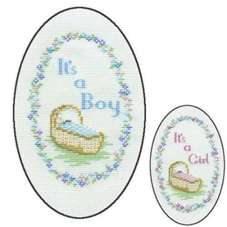 Derwentwater Designs Cross Stitch Kit - Birth of Baby Boy or Girl Card