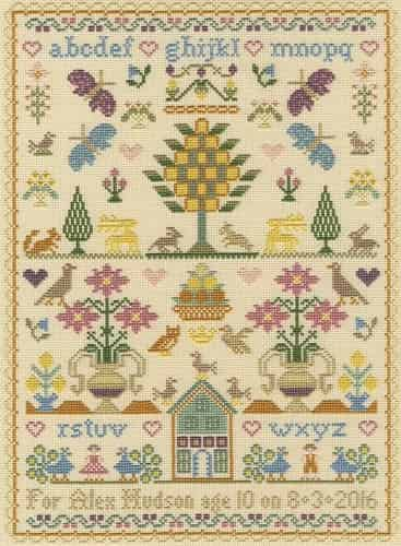 Bothy Threads Cross Stitch Kit - Moira Blackburn Birthday Sampler XS14