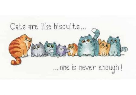 Heritage Crafts Cross Stitch Kit - Cats are like Biscuits