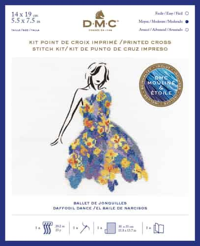 DMC Ball Gown Fashion Printed Cross Stitch Kit - Daffodil Dance BK1792
