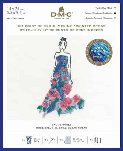 DMC Ball Gown Fashion Printed Cross Stitch Kit - Rose Ball BK1793
