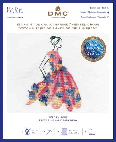DMC Ball Gown Fashion Printed Cross Stitch Kit - Party Pink BK1794