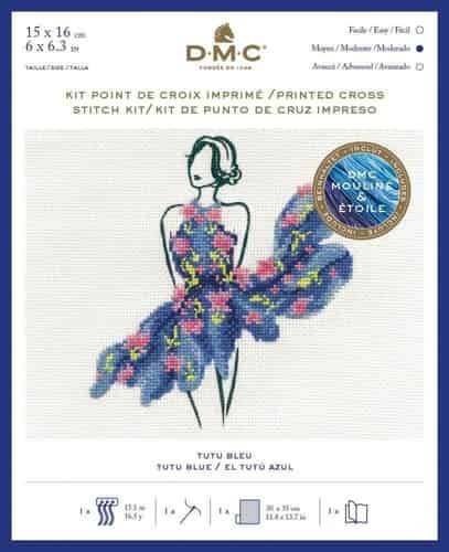 DMC Ball Gown Fashion Printed Cross Stitch Kit - Tutu Blue BK1795