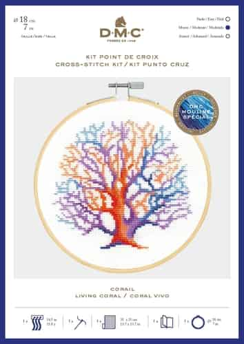 DMC Cross Stitch Kit - Ocean Blue, Living Coral includes hoop