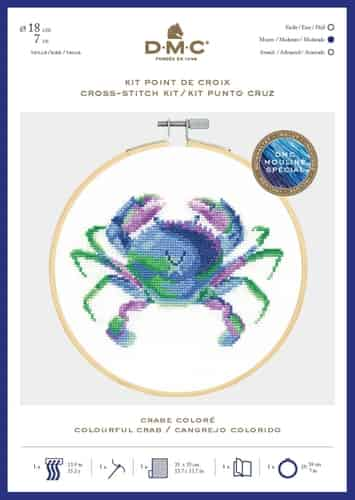DMC Cross Stitch Kit - Ocean Blue, Colourful Crab includes hoop