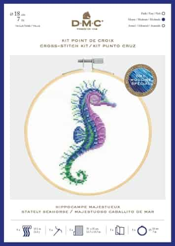 DMC Cross Stitch Kit - Ocean Blue, Stately Seahorse includes hoop