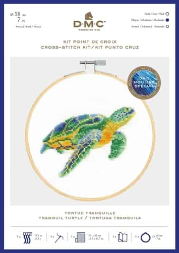 DMC Cross Stitch Kit - Ocean Blue, Tranquil Turtle includes hoop
