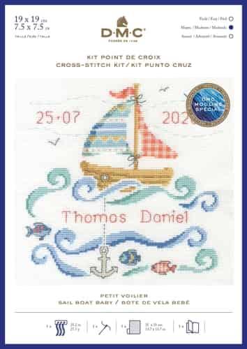 DMC Cross Stitch Kit - Sail Boat Baby, Birth Sampler BK1877