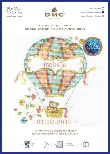 DMC Cross Stitch Kit - Balloon Baby, Birth Sampler BK1878