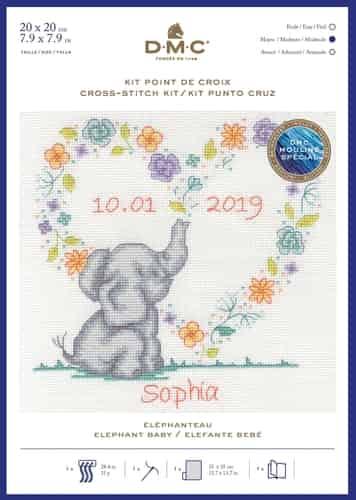 DMC Cross Stitch Kit - Elephant Baby, Birth Sampler BK1879