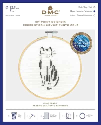 DMC Cross Stitch Kit - Pensive Cat BK1881 includes hoop