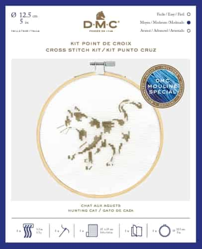 DMC Cross Stitch Kit - Hunting Cat BK1882 includes hoop