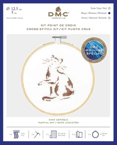 DMC Cross Stitch Kit - Playful Cat BK1883 includes hoop