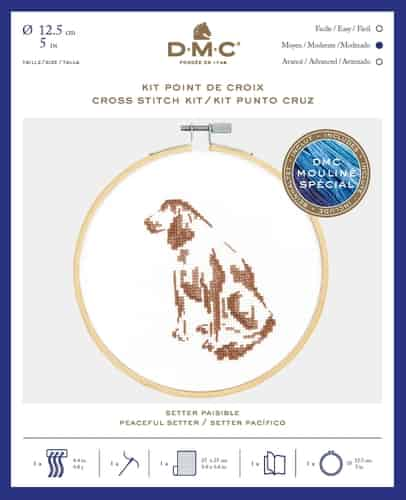 DMC Cross Stitch Kit - Peaceful Setter BK1884 includes hoop