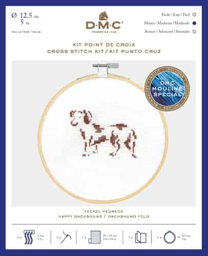 DMC Cross Stitch Kit - Happy Daschund BK1885 includes hoop