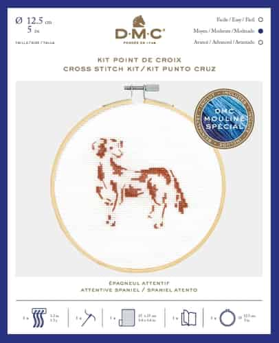 DMC Cross Stitch Kit - Attentive Spaniel BK1886 includes hoop
