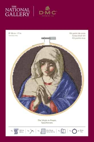 DMC Cross Stitch Kit - National Gallery - The Virgin in Prayer - Religious Painting