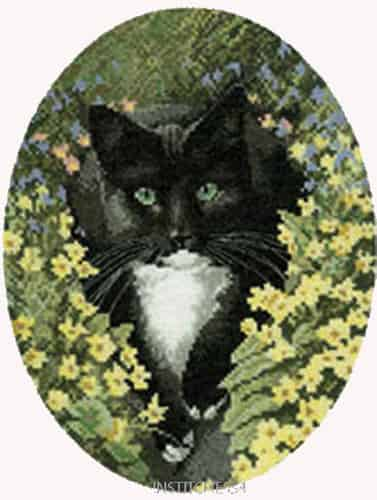 Heritage Crafts Cross Stitch Kit - Black and White Cat