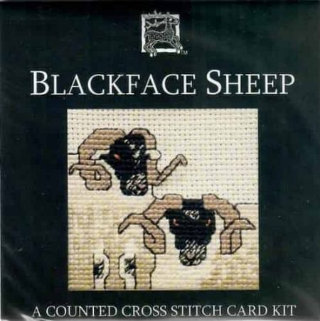 Textile Heritage Cross Stitch Kit - Card - Blackface Sheep - Made in Scotland