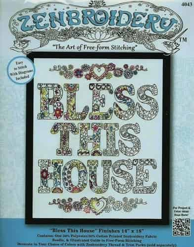 Design Works Zenbroidery Bless This House Fabric Pack, Embroidery