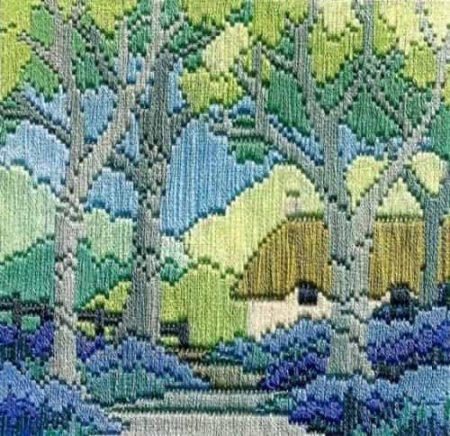 Derwentwater Designs Silken Long Stitch Kit - Bluebell Cottage