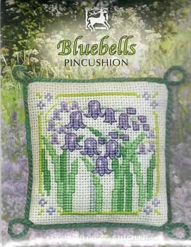 Textile Heritage Cross Stitch Kit - Pincushion - Bluebells - Made in Scotland