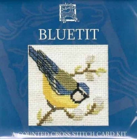 Textile Heritage Cross Stitch Kit - Card - Blue Tit - Made in Scotland