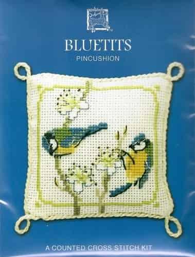 Textile Heritage Cross Stitch Kit - Pincushion - Blue Tits - Made in Scotland